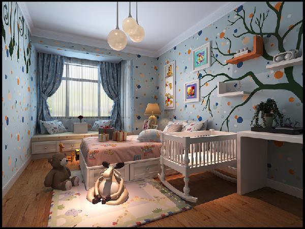 该房间以田园风格为基调,但是主要是以暖色调基调。整体不失温馨大气