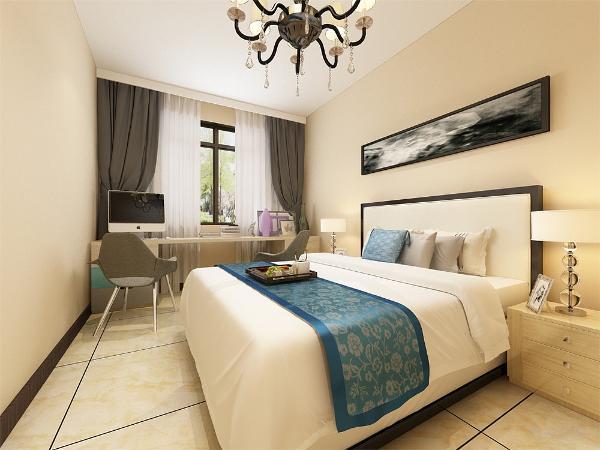 主卧我们采用咖啡色壁纸和床头软包互相结合,深色床品也让空间高档起来。
