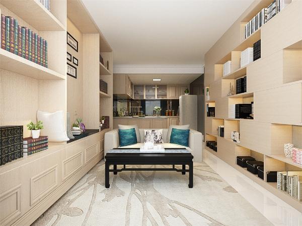 让空间调高显得更高更大,  充分体现了我们简约而不简单的设计理念与生活理念, 使得空间既有分割又有联系,木色橱柜的选用让厨房空间也显得更加高档