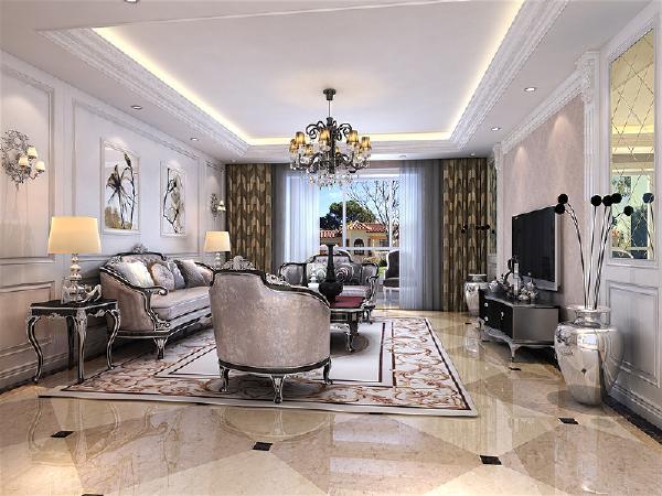 客厅:把客厅与阳台之间的推拉门去掉了,这样从视觉上显得挺会更大,以为本身厅是比较小,沙发的后面采用了深色壁纸,浅色描银护墙板凸显风格特色。