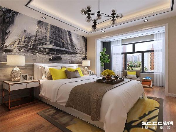 卧室设计在满足基本需求外,又要与众不同,床头背景采用手绘都市缩影,让整个空间变得时尚感十足。