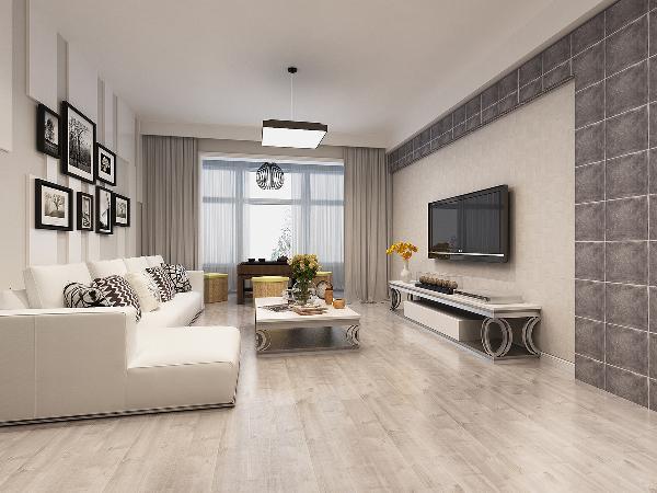 客厅:黑白灰的色彩搭配容易营造出时尚的感觉,沙发背景的集合造型灵动活波,电视墙的不规则造型很有层次感。家具及灯具窗帘的材质及造型也尽显时尚大方之感。