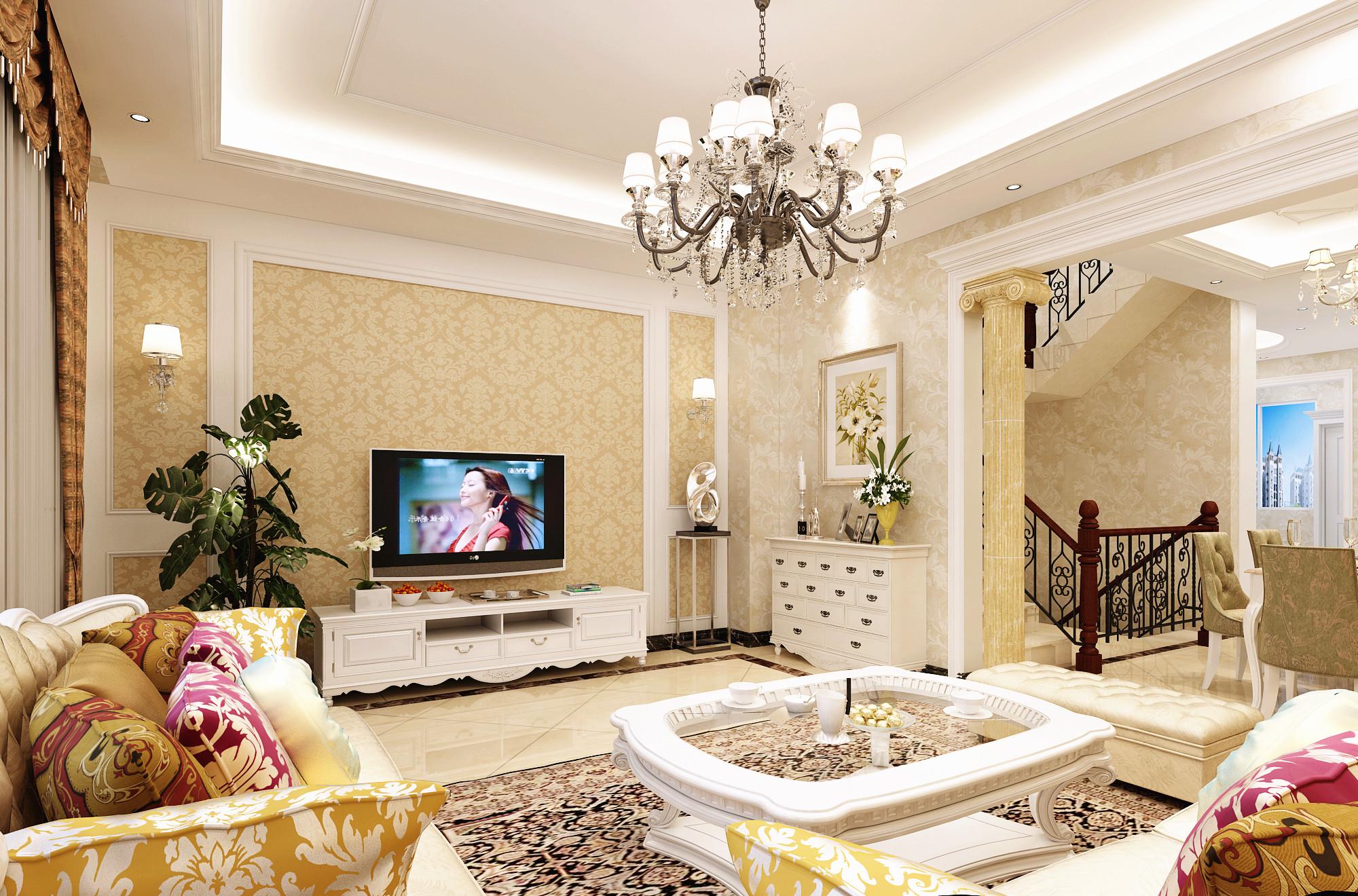 别墅 旧房改造 小资 收纳 白领 混搭 简约 田园 三居 客厅图片来自北京居然元洲装饰在牛驼孔雀城230平简欧混搭风格的分享