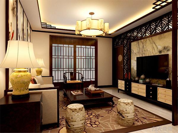 在电视背景墙的装饰上,我们采用了仿古墙面和栅格装饰背景墙,表现了一种清新气息感,沙发采用中式木制造型,加高级灰的地毯让整个空间出现了亮点。