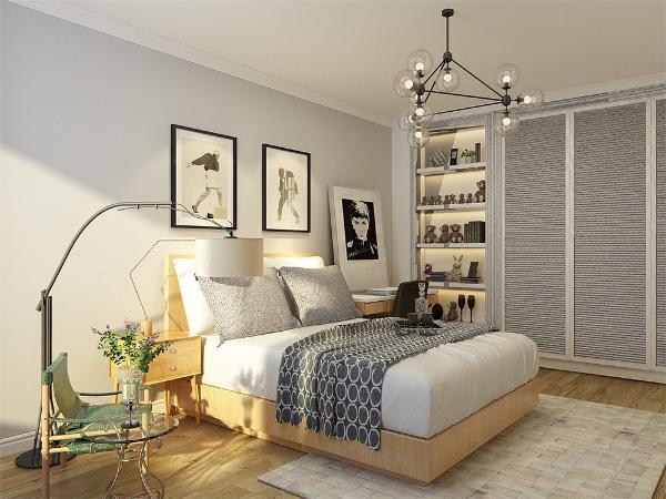 主卧室整个墙面也刷象牙白乳胶漆,床头背景墙粉刷高级灰乳胶漆搭配木色与白色的家具,显得格外好看,地面通铺木地板。