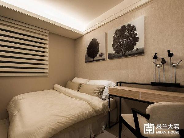 以功能为主的空间设计,透过床头挂画的选搭提升整体质感。