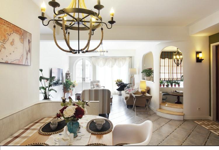 客厅图片来自武汉一号家居网装修在城投瀚城140平地中海三室两厅的分享