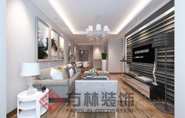 中海和平之门109三居室现代风格装修案例-方林装饰
