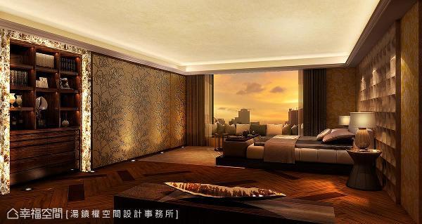 木作床头背墙铺贴金箔和银箔,对应的墙面以刺绣花样做呈现,一旁的展示柜利用石材创造ㄇ字框景,天花结合雪花大理石,形成金碧辉煌的效果。 (此为3D合成示意图)