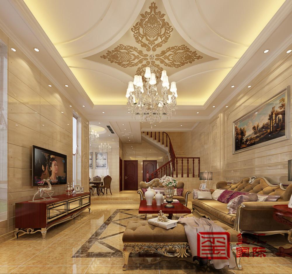 别墅 欧式 玺汇国际 客厅 客厅图片来自河北玺汇国际装饰公司在恒大金碧天下246平别墅欧式风格的分享