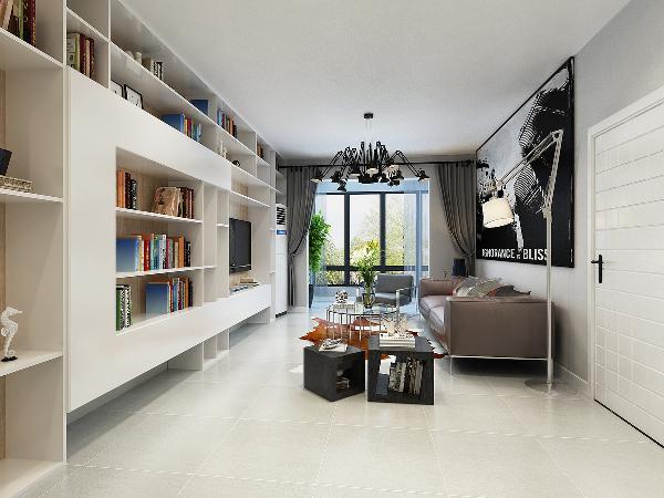 客厅,极简风格从客厅上可以很明显的体现出来,没有华丽的灯带!省钱,却非常的美观!