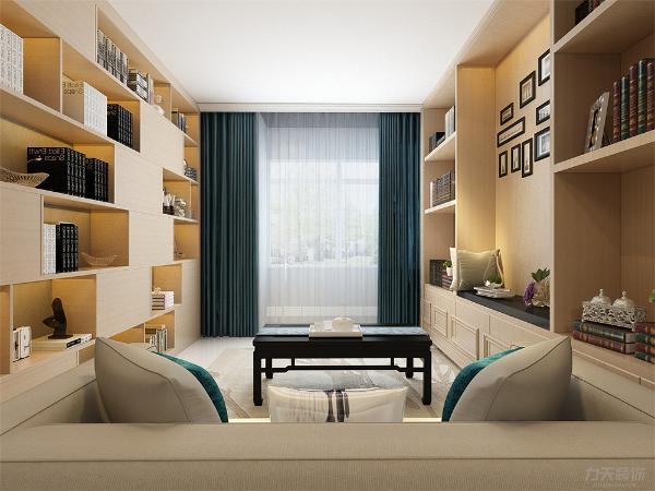 客厅我们在设计上选择了全屋的灰色乳胶漆,客厅墙两面全是书柜,显示了住户的博学, 在配色上显得更加大方华贵。