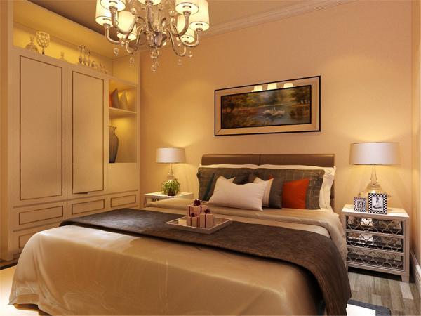 在卧室的设计中,同样我们采用了木色的木地板与水晶灯相结合,白色的衣柜配搭舒适的双人床使偏冷色系的空间有了少许温暖和亲切,地板采用的是实木复合地板具有防滑的功效。