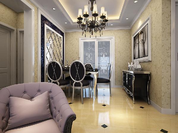 餐厅的设计风格与客厅区域风格相呼应,精致地营造了温馨舒适的就餐环境。采用菱形镜面玻璃作为餐厅背景墙,漂亮的照片墙嵌入特色植物图片,给人以放松舒心的感觉,轻松愉快的享受就餐的乐趣。
