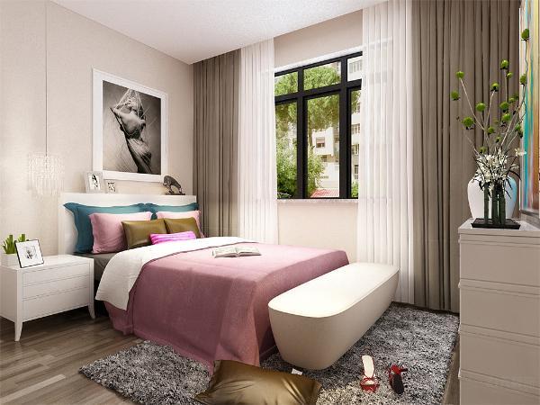 在卧室的设计中,同样我们采用了木色的木地板与清新家具相结合,白色的衣柜配搭高级灰的双人床使偏暖色系的空间有了温暖和亲切,地板采用的是实木复合地板具有防滑的功效,整个空间也是多采用简洁明朗的线条。