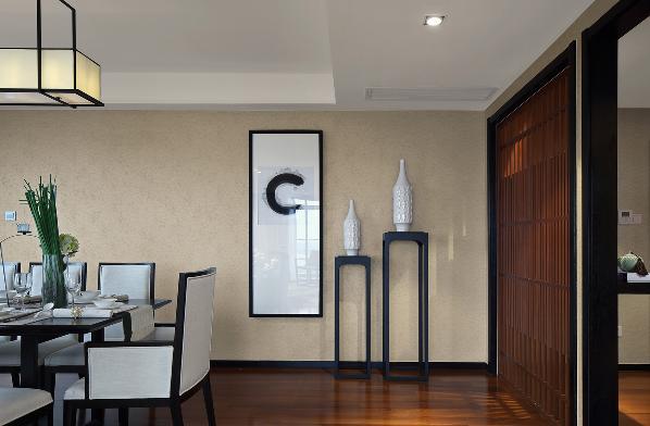 餐厅背景,餐厅空间利用挂画及高低端景柜,后期再配以灯光营造氛围;