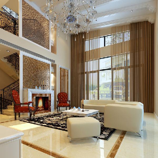 客厅:无论是石膏定制拱形吊顶,还是高贵的大理石背景,安静的壁炉,都是一种放松的生活态度