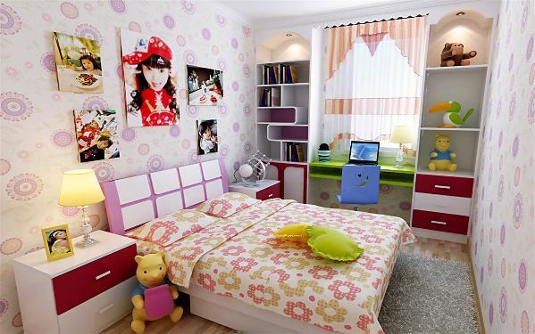 儿童房:丰富多滋的色彩,活泼新鲜,简洁明快,具有童话式的意境,让儿童在自己的小天地里自由地学习生活,而且鲜艳的色彩会激发起希望与生机;