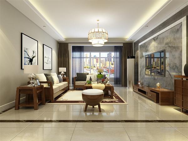 客厅空间讲究沉稳大方,客厅墙面整体以淡灰色乳胶漆为主,影视墙整面用石材做造型,突出新中式的气息,深色但是造型不复杂的家具使整个空间复函一种怀旧的感觉