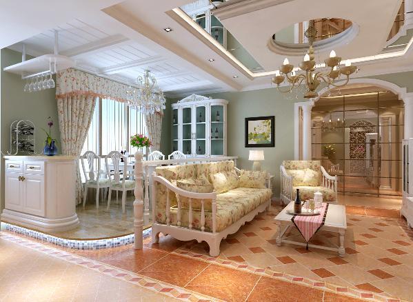 餐厅:为了给餐厅营造温馨浪漫的氛围,特意把餐厅改造到靠窗的位置,流苏纱帘、地台、马赛克、白色扶手立柱、灯光等交织成一幅生活实景图;