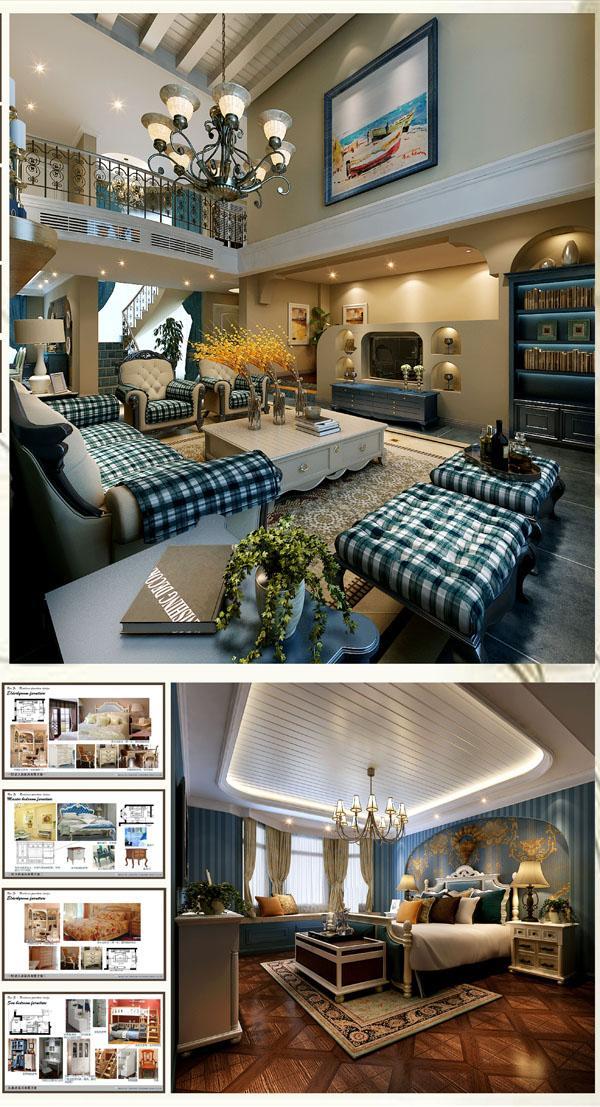 完整的空间功能设计,简洁的家具,质地柔软舒适的织物,赏心悦目的挂画,工艺品,植物等合理选择和布置,结合灯光的有效设计,共同构成整个住宅陈设配饰的基本元素,营造的地中海清新自然的氛围。