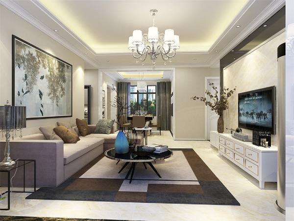 客厅影视墙和吊顶造型的相结合,搭配上淡紫色的沙发,让人有种安逸宁静的感觉,使整个空间的简单大方很有特色,摒弃了复杂线条的那种粗狂的美感,并且这样的沙发可以让人使用起来更自由。