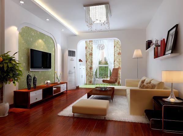 客厅区域:采用了半弧形的垭口可电视背景,显得温婉大方,深绿带花纹壁纸和阳台砖的颜色相互呼应,显得自然清新。