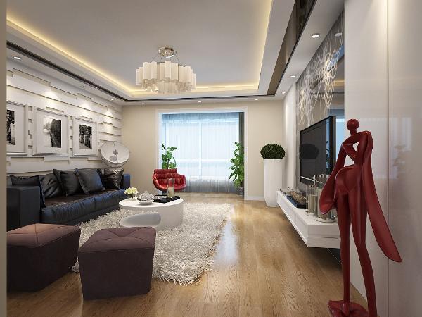 中粮大道、141平米-现代简约风格装修客厅