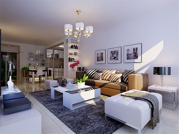 本案各空间采用黑白灰为主色调,突出点、线、面。的表现线条硬朗。客厅餐采用白色地砖通铺,电视背景墙面高级灰花纹壁纸,