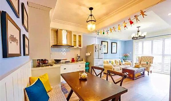 ▲ 客厅、餐厅、厨房全部开放式设计,视觉和采光都大幅提升