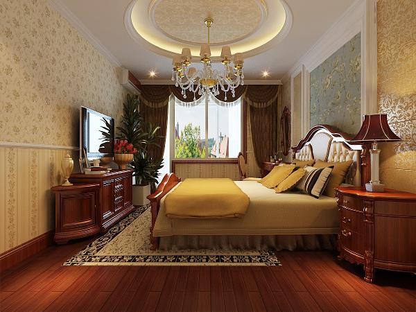 次卧:吊顶设计和墙面颜色的设计都更加简单和干净,注重舒适性的体现,充分的结合了古典风格和现代风格的优点。