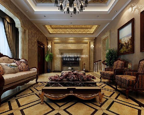 客厅电视背景墙以石材为主,更加彰显别墅的奢华贵气。