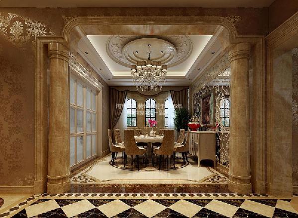 在欧式风格的装饰元素中,罗马柱和拱形门窗是设计中必不可少的,压花的烤漆玻璃为空间减少了贵族气息,添加了时尚简约氛围。