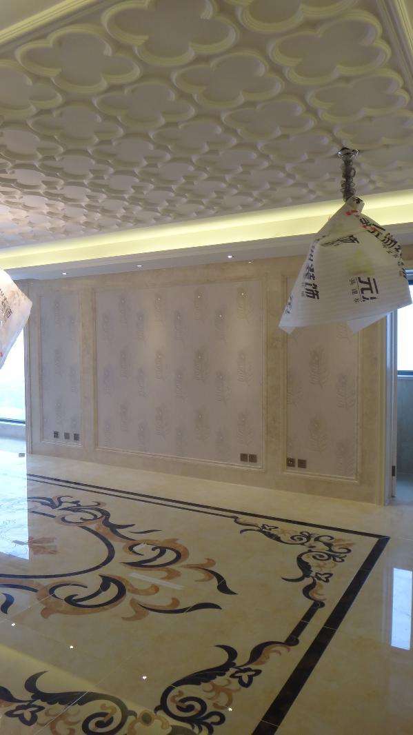 客厅天花与地面正拍。可惜只能拍到客厅地面拼花的一部分!