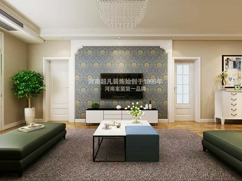 简约 三居 祝福红城 现代简约 客厅图片来自郑州最好的装修公司-河南超凡在祝福红城128平户型简约风格设计的分享