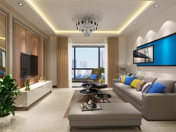客厅的设计采用了大胆的蓝色、黄色,没有做特殊的造型,吊顶为回字形,带有灯带,下方装有筒灯,阳台的设计很大胆,种植了很多绿植,增加了空间的视觉效果