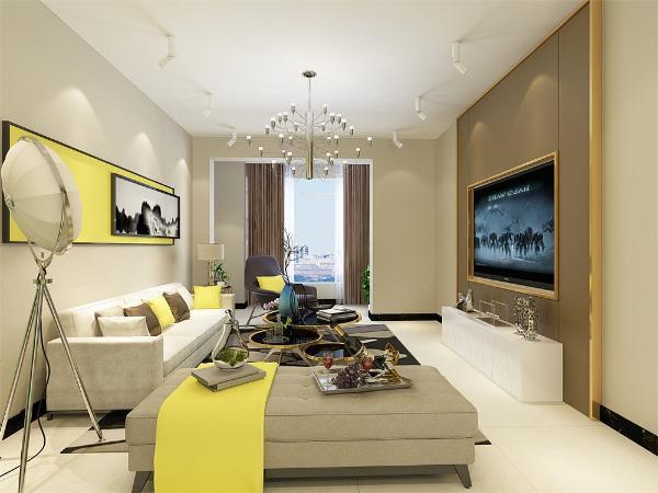 电视背景墙做了简单的造型,色调为暗色,既简单又大方,沙发背景墙挂了幅画,跟整体色调很搭,增加了空间的活力,家具的颜色整体很素雅,地毯的样式选为有花样的,使空间看起来有理有序。