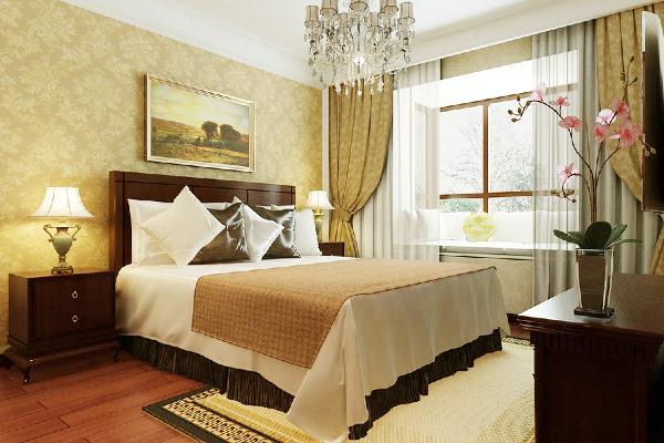 主卧室:墙面壁纸和顶面石膏线的简单处理,会让空间既有装饰感又简洁温馨。衣帽间有很好的储物功能,也让空间更加完整。