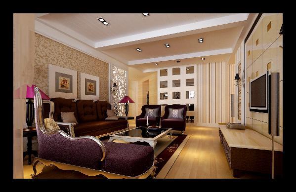 客厅:客厅顶面石膏板假梁和沟槽结合,用欧式雕花做隔断,把客餐厅区域进行划分。客厅墙面为素色壁纸,配以欧式布艺家具,突显出现代简欧风格的简洁、大方又不显得单调,整体以暖色调为主,细致清新。