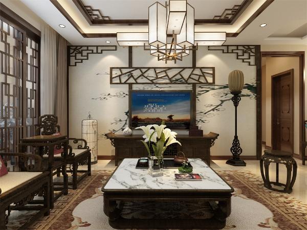 客厅的设计,沙发背景应用了带有色彩的国画的墙纸,加上非常中国风的国画装饰,搭配带有色彩的沙发,格调高雅,造型简朴,色彩浓重而成熟。
