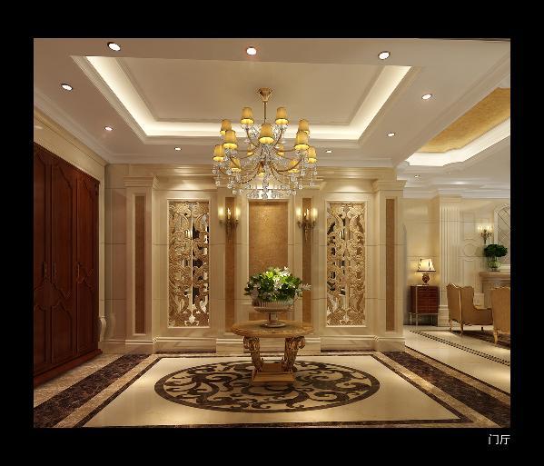 门厅:运用暖色系柔润莎安娜天然石材拱扶壁式加檐口柱式镂空的样式玄关墙面形成入户门厅主题,加强 空间层次,形成空间流线导引。