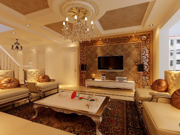 客厅背景墙面以软包为主体,边框以玻璃为配饰,突出欧式主题