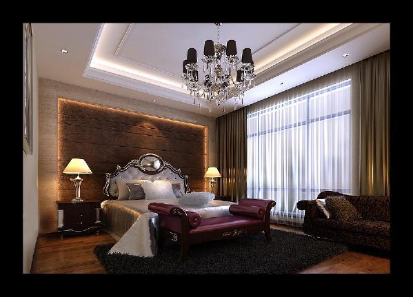 主卧室:主卧室床头背景墙采用深色布艺做软包,石膏板贴壁纸做边框,银白色的欧式床头来体现色差,温馨而稳重。