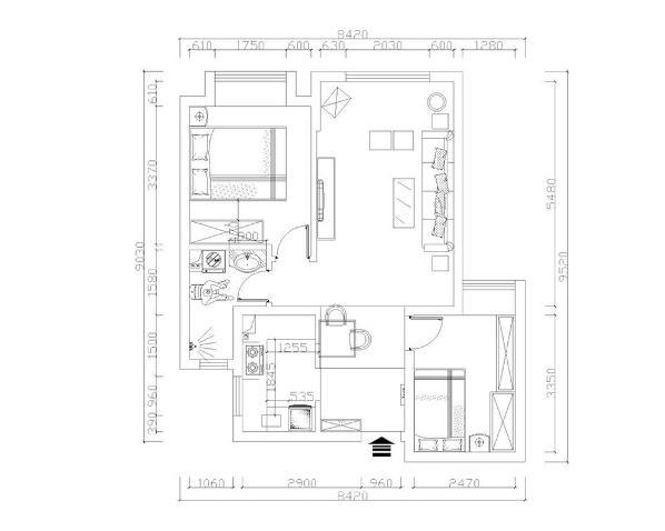 首先是餐厅的设计,左边是厨房,与入户门相邻的是次卧,在玄关的左边是一个较小的空间可作为餐厅。与餐厅相邻的是客厅,与客厅相邻的是主卧室的设计。它的左边是卫生间,卫生间又与客厅相邻,这边构成了整个空间。