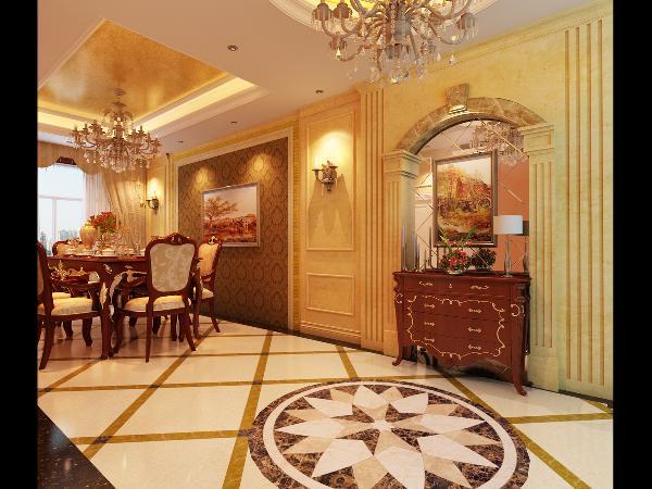 餐厅:与客厅邻近,整体都与客厅的装饰和配饰相同。
