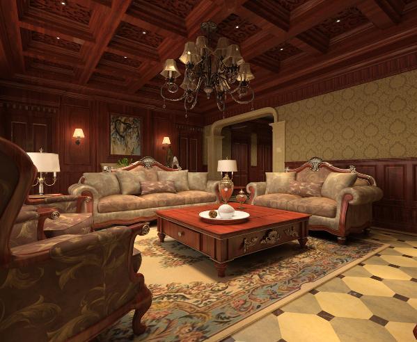客厅:通过实木护墙板从墙到顶整体运用,加入天然石材,让二种自然的材质融为一体。运用欧式风格的形式达到一种气场