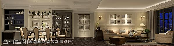 利用白色壁板搭配线板,呈现美式古典语汇,设置吧台串联起餐厅,带来美式生活氛围。 (此为3D合成示意图)