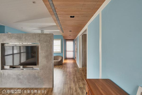 保留既有的结构梁体,并加装假梁造型,以木工手法打造斜屋顶意象,不仅拉高空间感,亦注入经典的北欧乡村气息。
