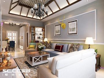 碧桂园110平古典美式风格两居室