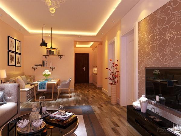 沙发背景墙采用的是装饰挂画使背景墙更富有生气。在餐厅的设计中,采用了木色系的餐桌椅搭配黑白色调挂画。